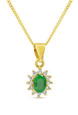 18kt geel goud hanger met 0.50 ct smaragd & 0.20 ct diamanten