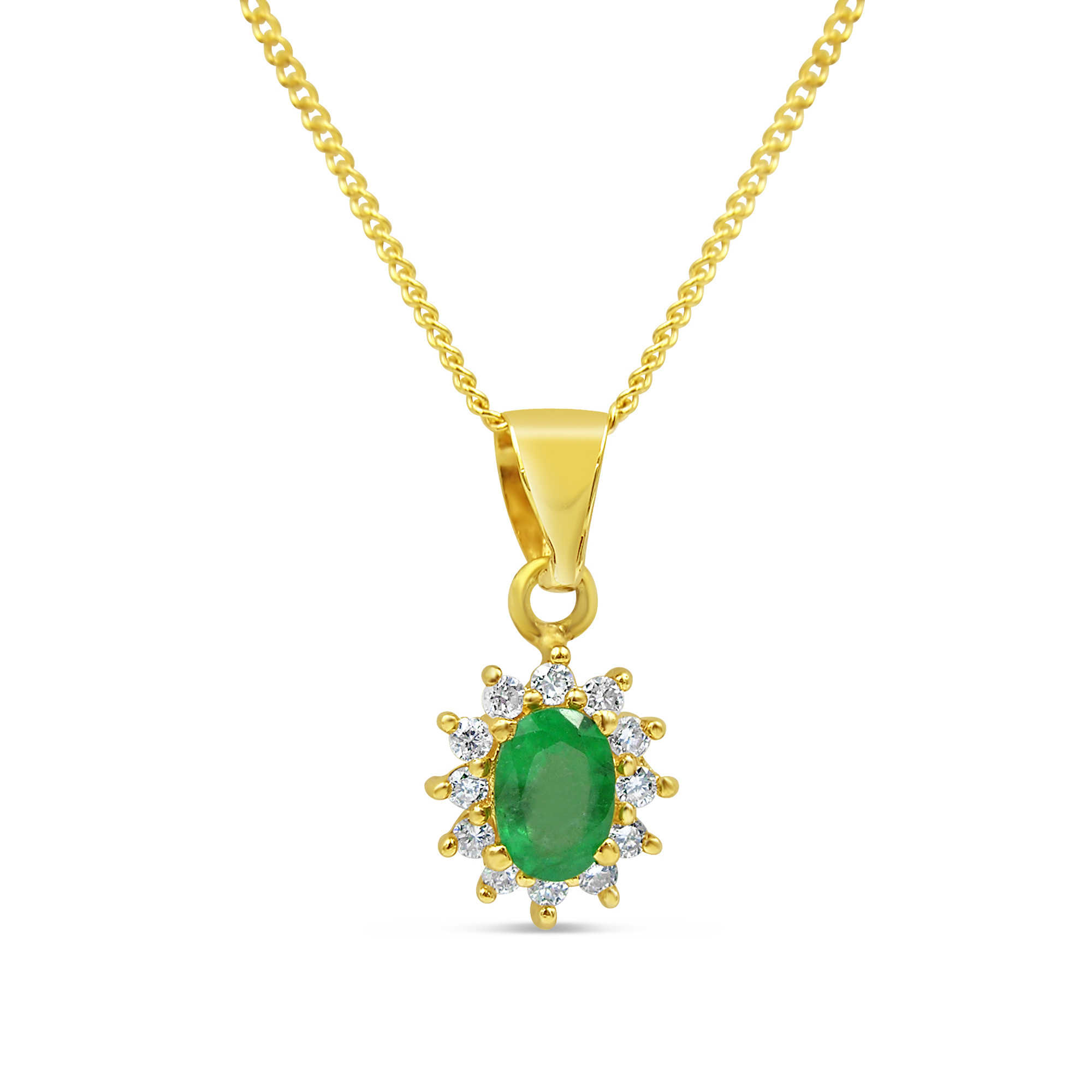 18kt yellow gold pendant with 0.50 ct emerald & 0.20 ct diamonds