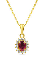 18kt yellow gold pendant with 0.50 ct ruby & 0.20 ct diamonds