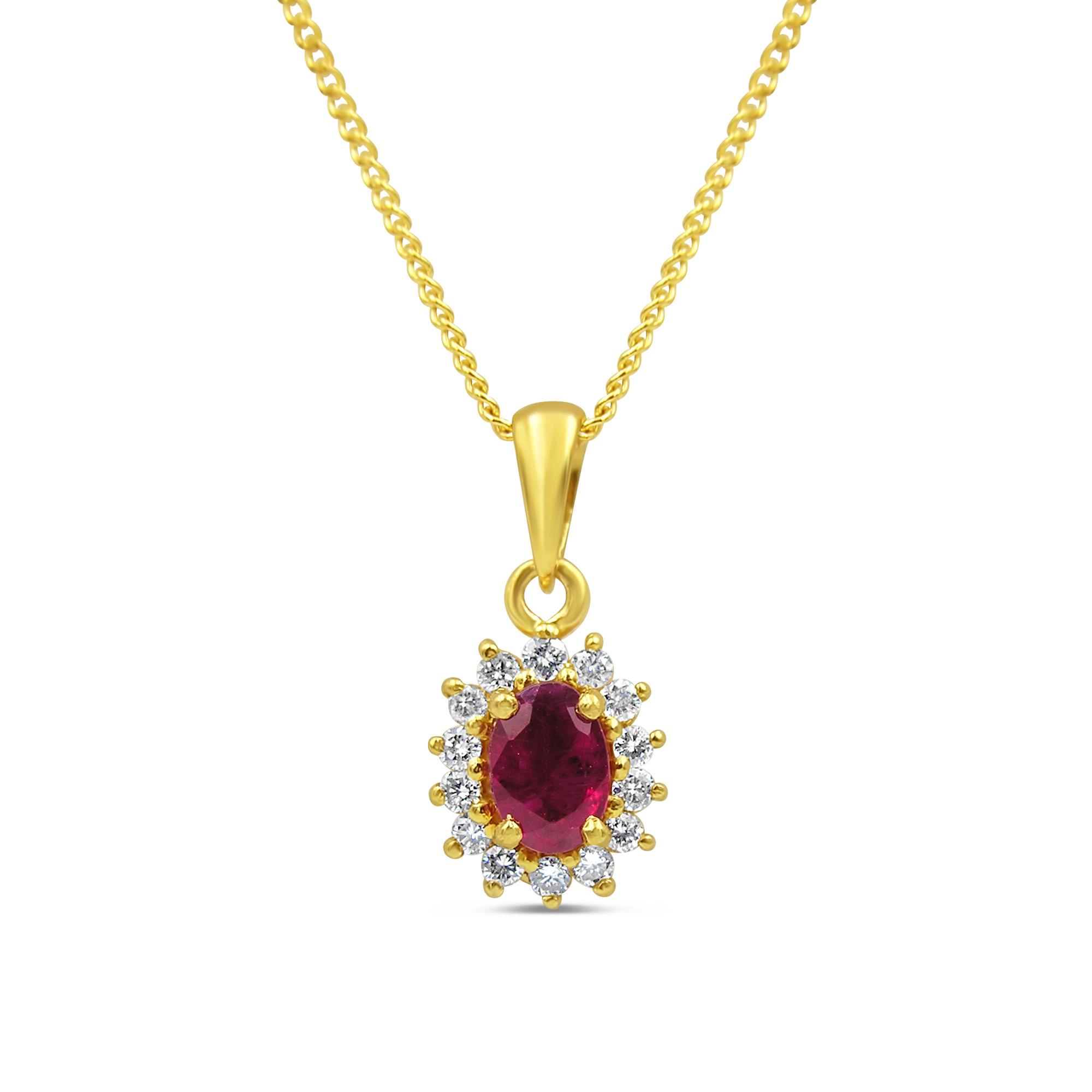18kt geel goud hanger met 0.50 ct robijn & 0.20 ct diamanten