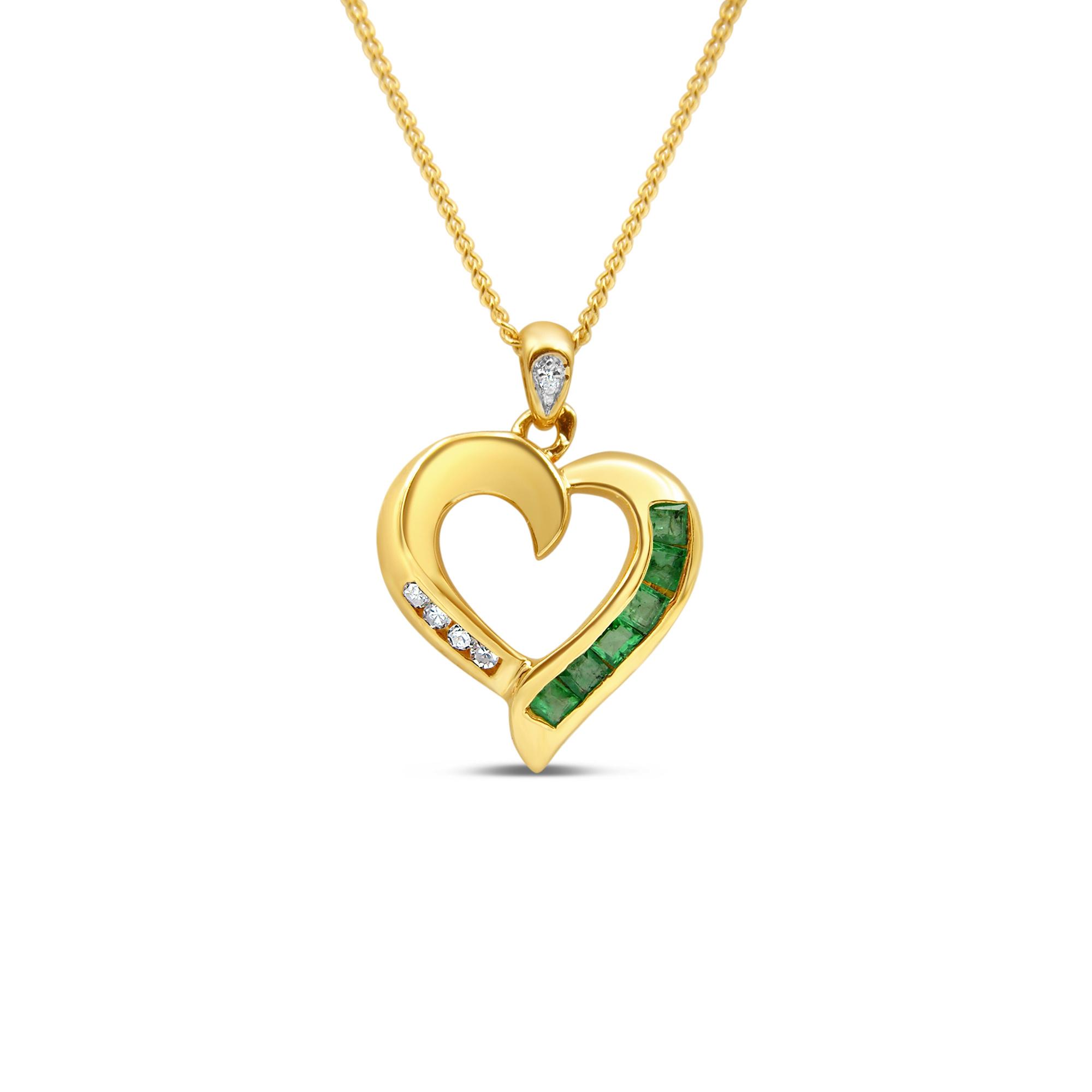 18kt geel goud hart hanger met 0.12 ct smaragd & 0.05 ct diamanten
