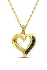 18kt geel goud hart hanger met 0.12 ct safier & 0.05 ct diamanten