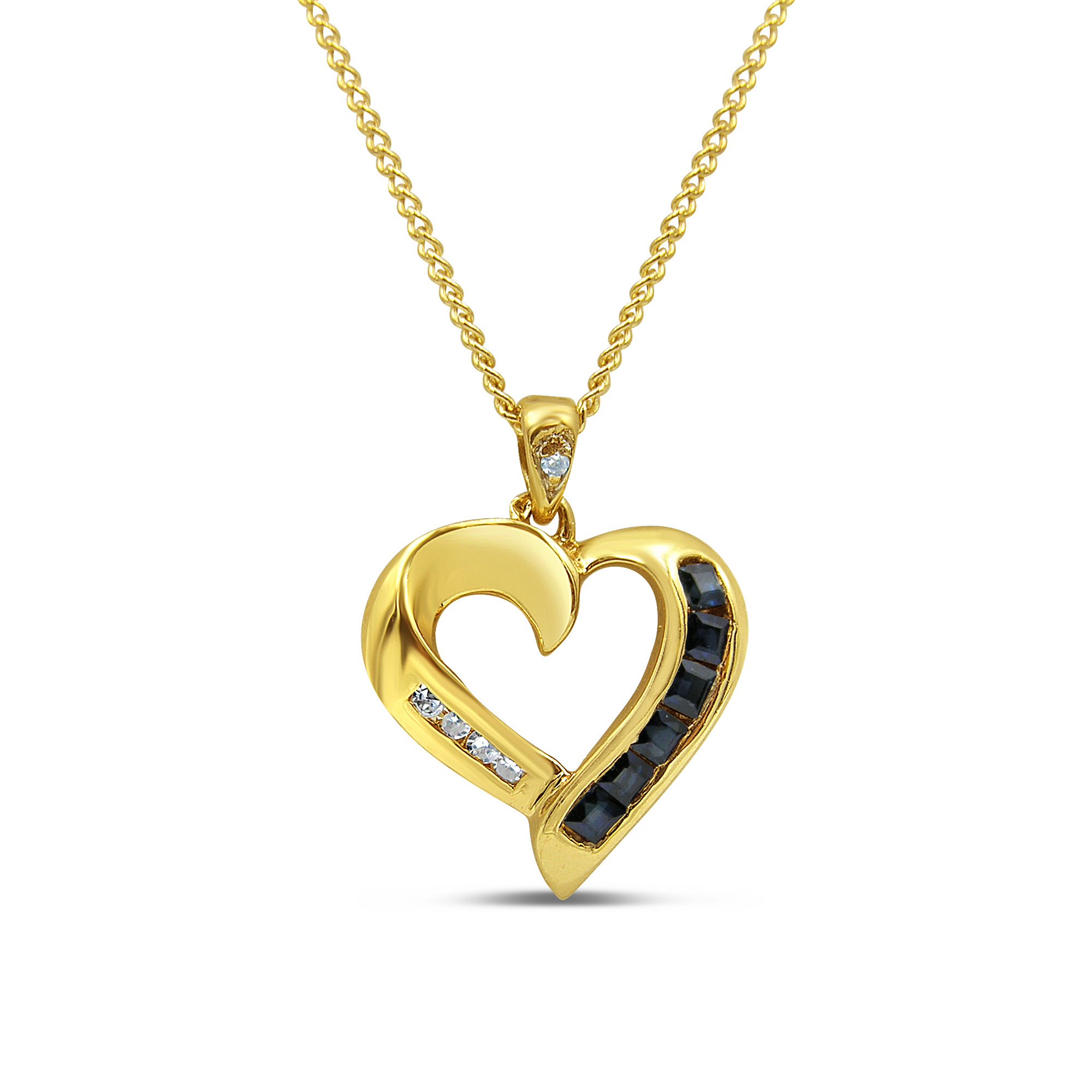 18kt yellow gold heart pendant with 0.12 ct sapphire & 0.05 ct diamonds