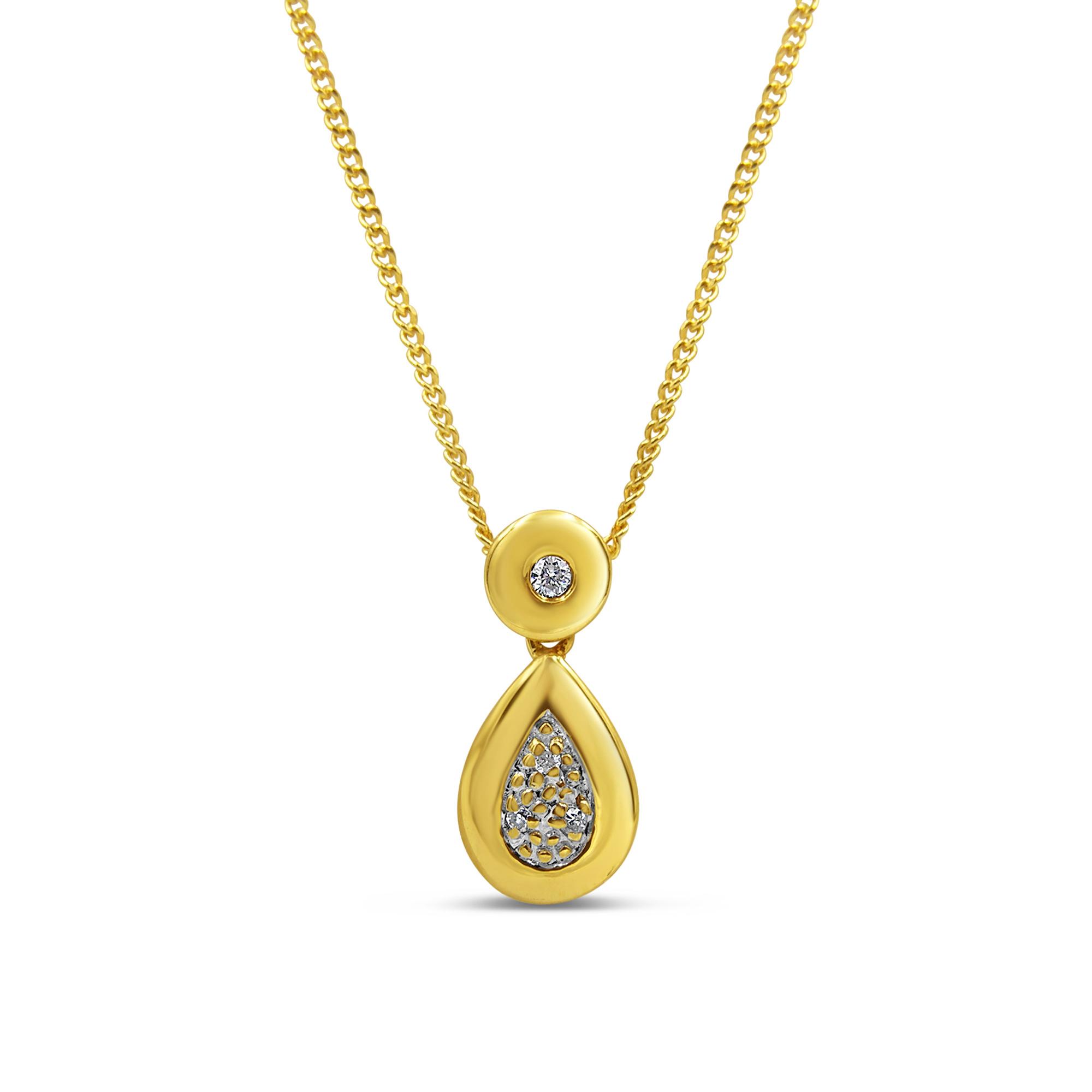 18kt geel goud hanger met 0.05 ct diamanten