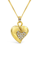 18kt yellow gold heart pendant with 0.30 ct diamonds