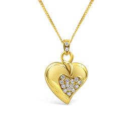 18kt geel goud hart hanger met 0.30 ct diamanten