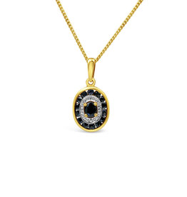 18 kt yellow & white gold pendant with 0.48 ct sapphire