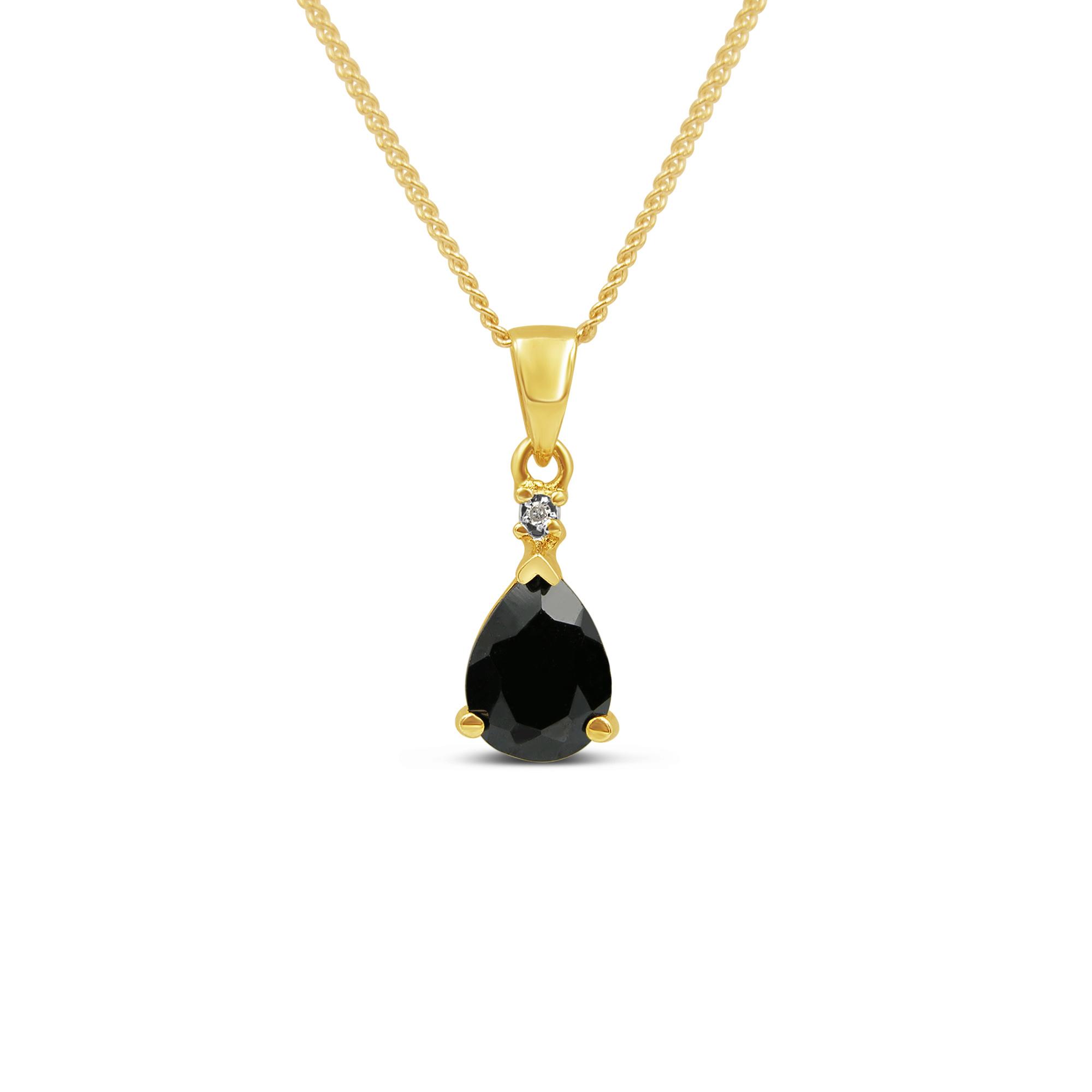 18kt geel goud hanger met 0.85 ct safier & 0.01 ct diamant