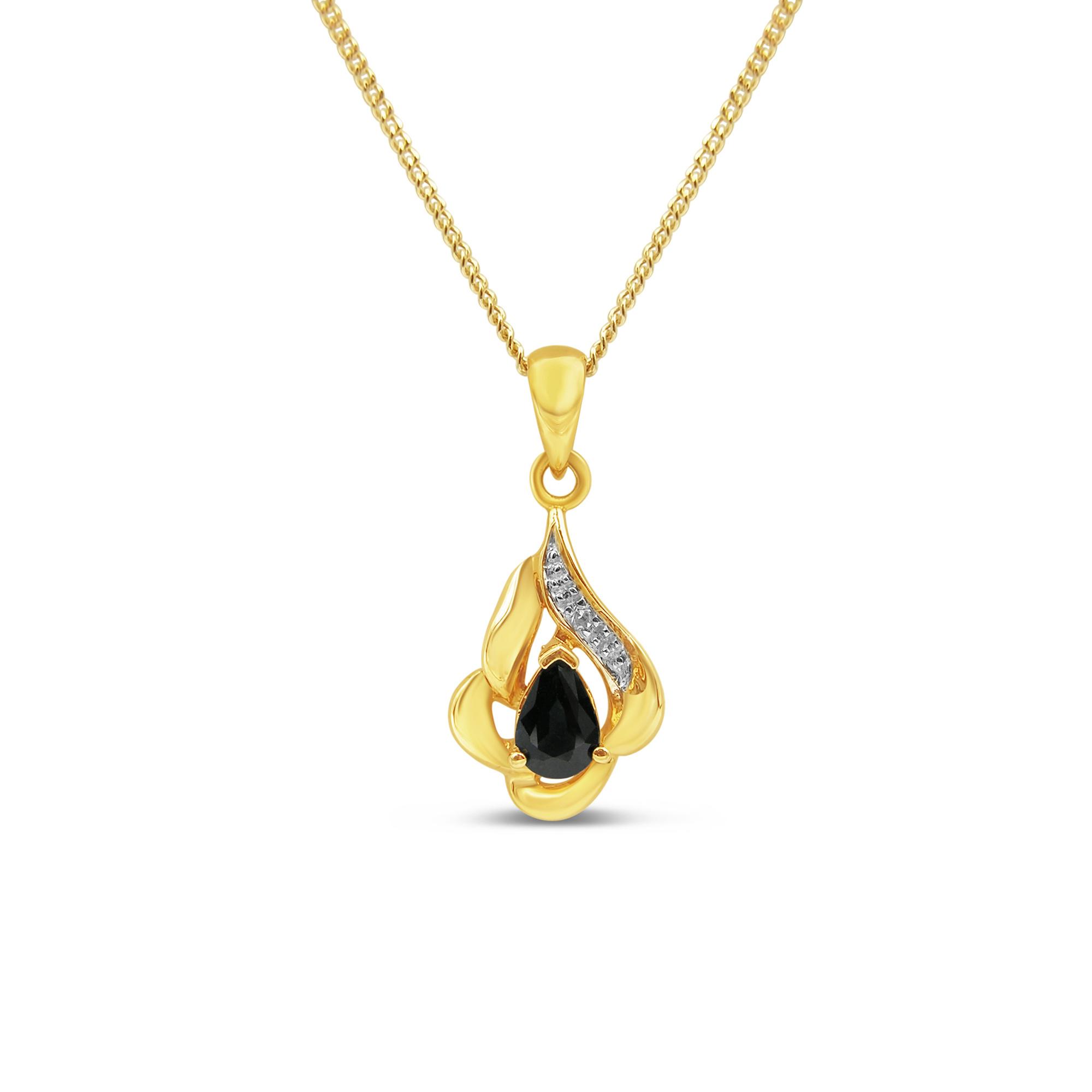 18kt geel goud hanger met 0.25 ct safier & 0.01 ct diamant