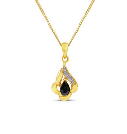 18kt yellow gold pendant with 0.25 ct sapphire & 0.01 ct diamond