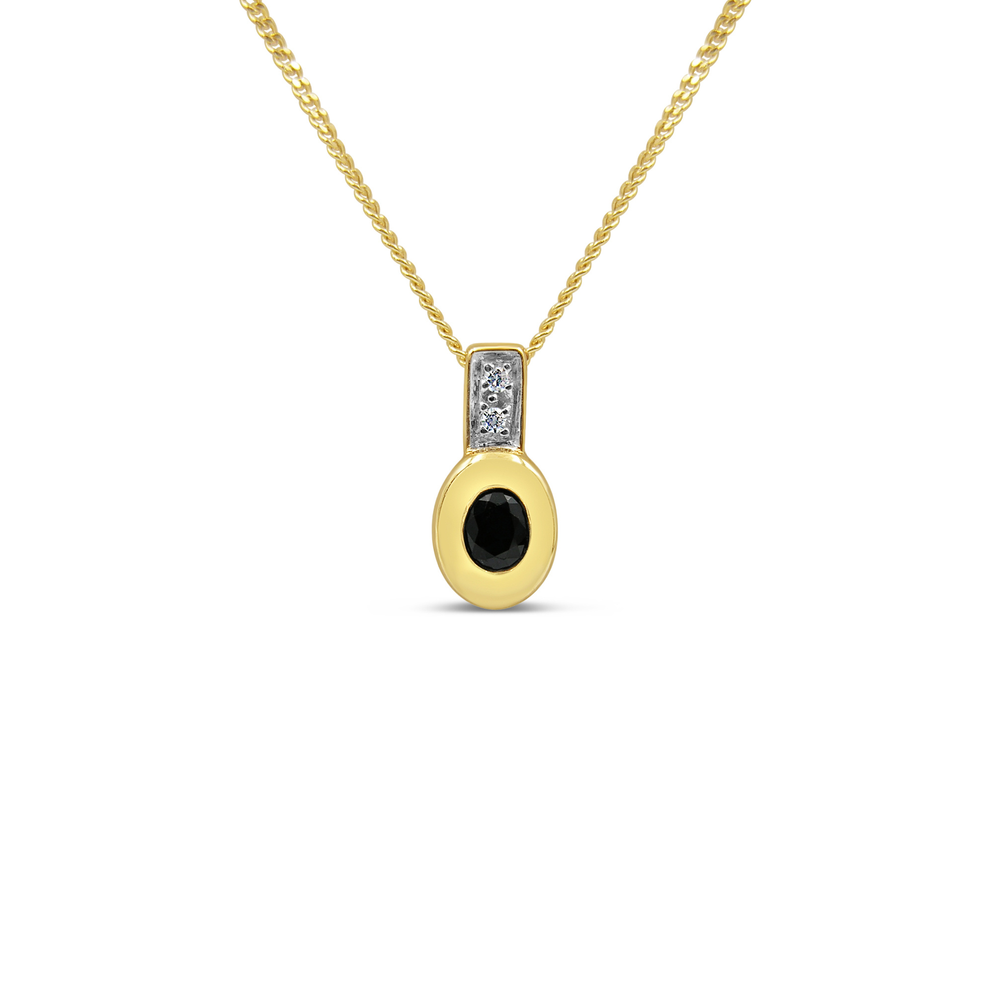 18kt yellow gold pendant with 0.10 ct sapphire & 0.02 ct diamonds