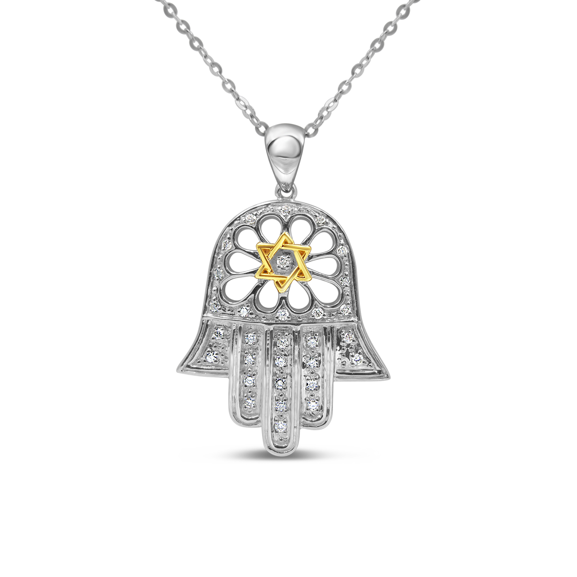 18kt white & yellow gold hand with david star pendant with 0.16 ct diamonds