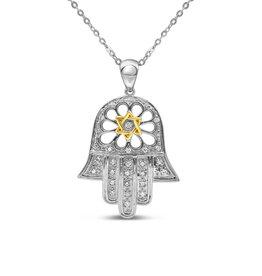 18kt wit & geel goud hand met david ster hanger met 0.16 ct diamanten