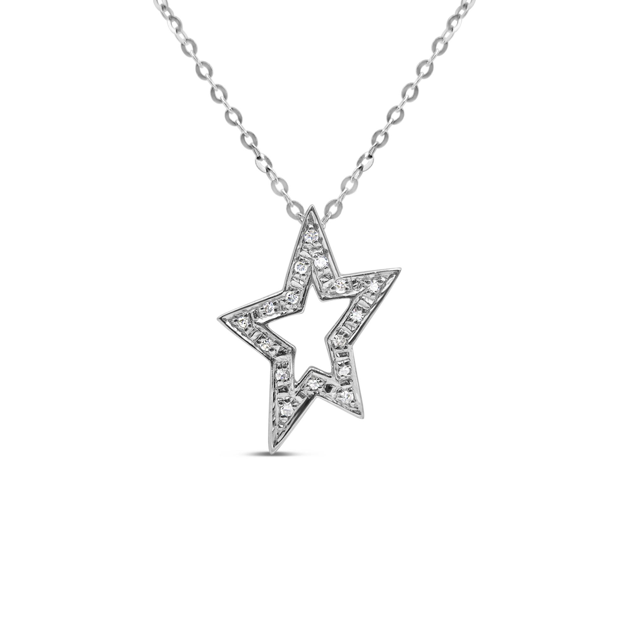 18kt wit goud ster hanger met 0.08 ct diamanten
