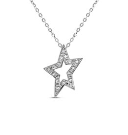 18kt white gold  star pendant with 0.08 ct diamonds