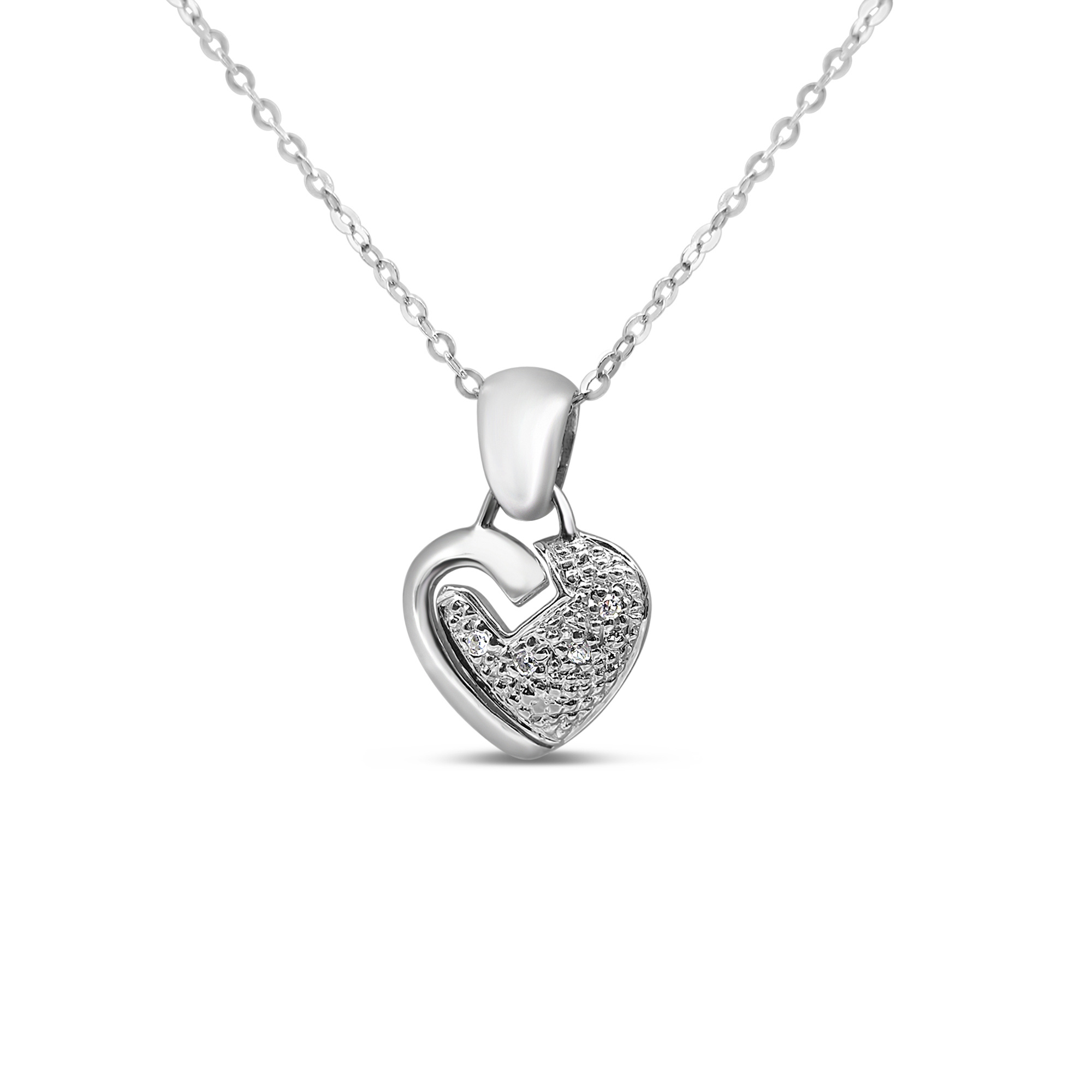 18kt white gold heart pendant with 0.02 ct diamonds