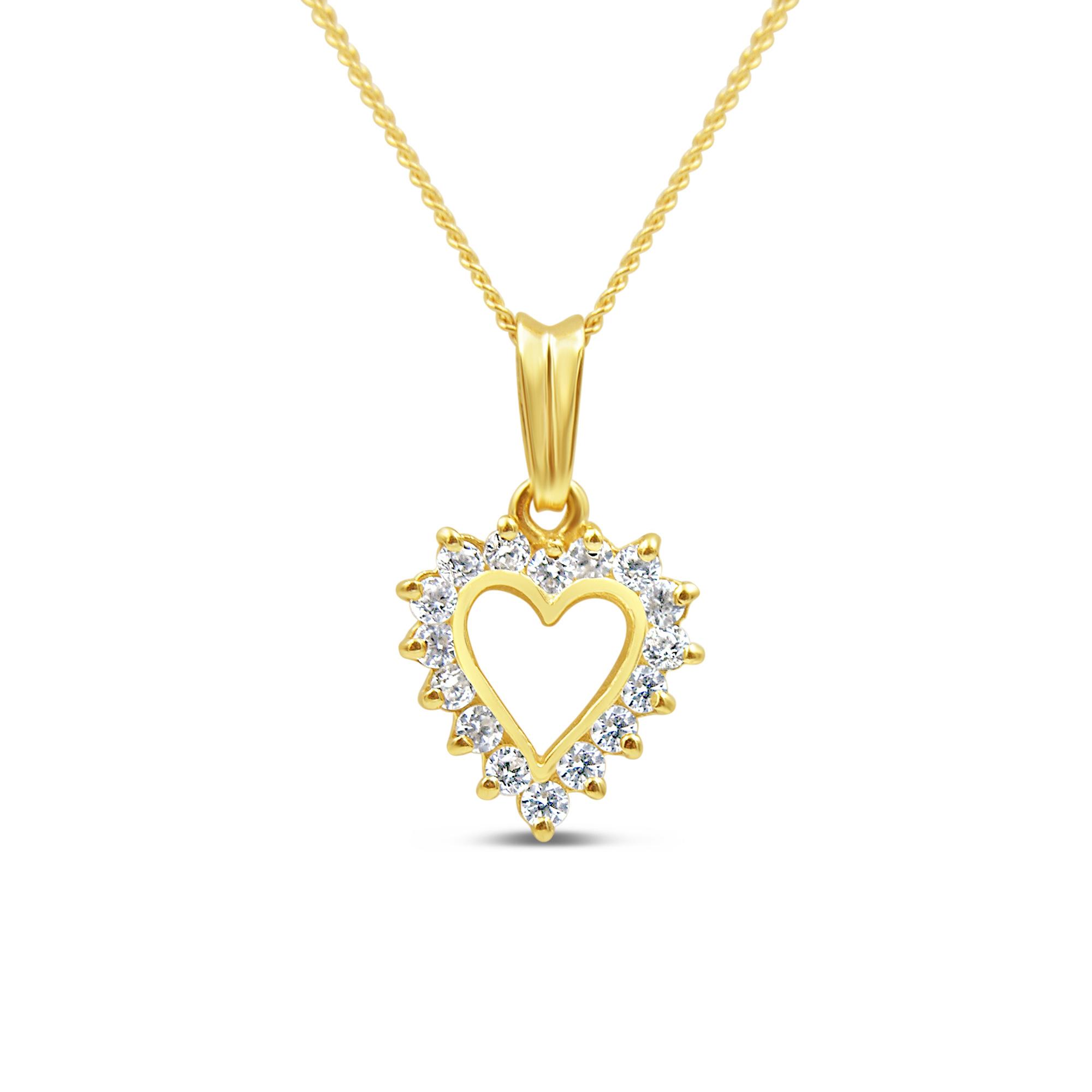 14kt geel goud hart hanger met zirkonia