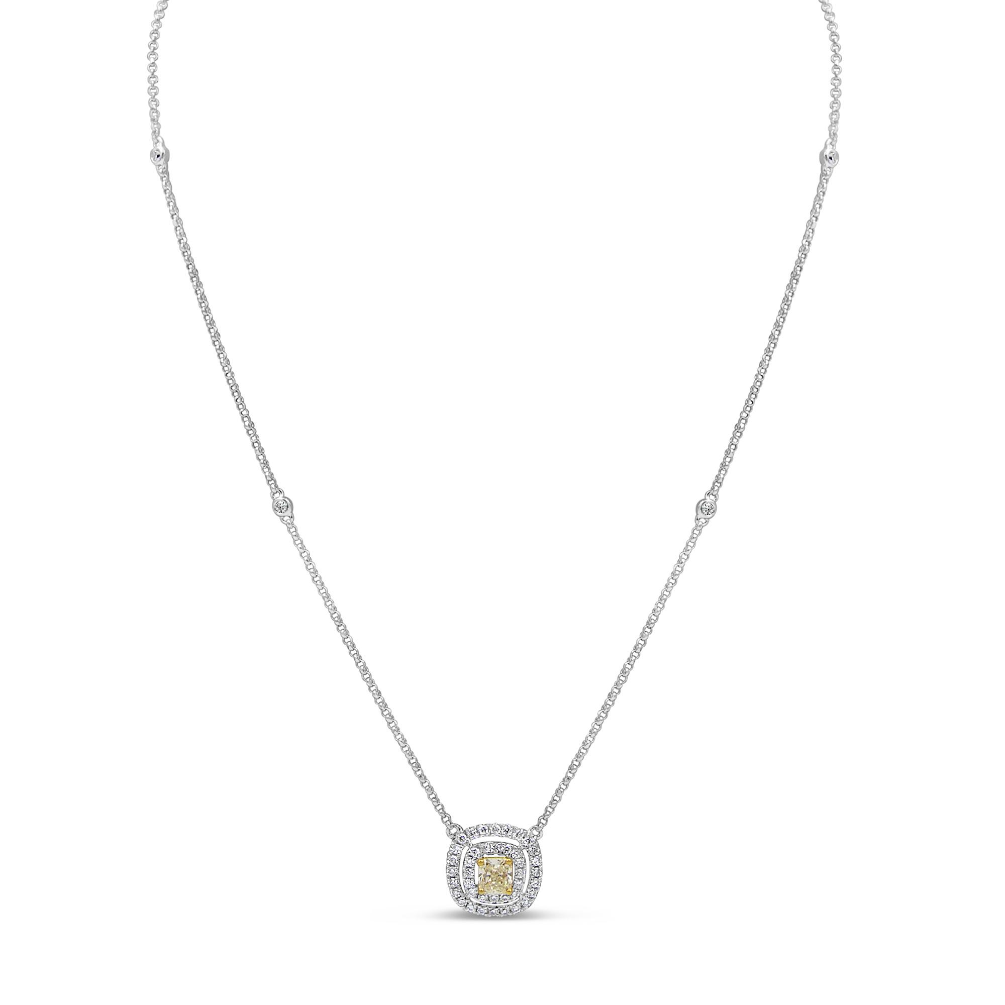 18 karaat wit goud ketting met 0.67 ct diamanten hanger