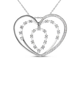 18kt white gold heart pendant with 0.83 ct diamonds