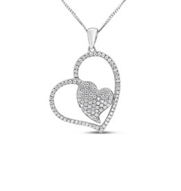 18kt white gold double heart pendant with 0.52 ct diamonds