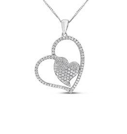 18kt wit goud dubbel hart hanger met 0.52 ct diamanten