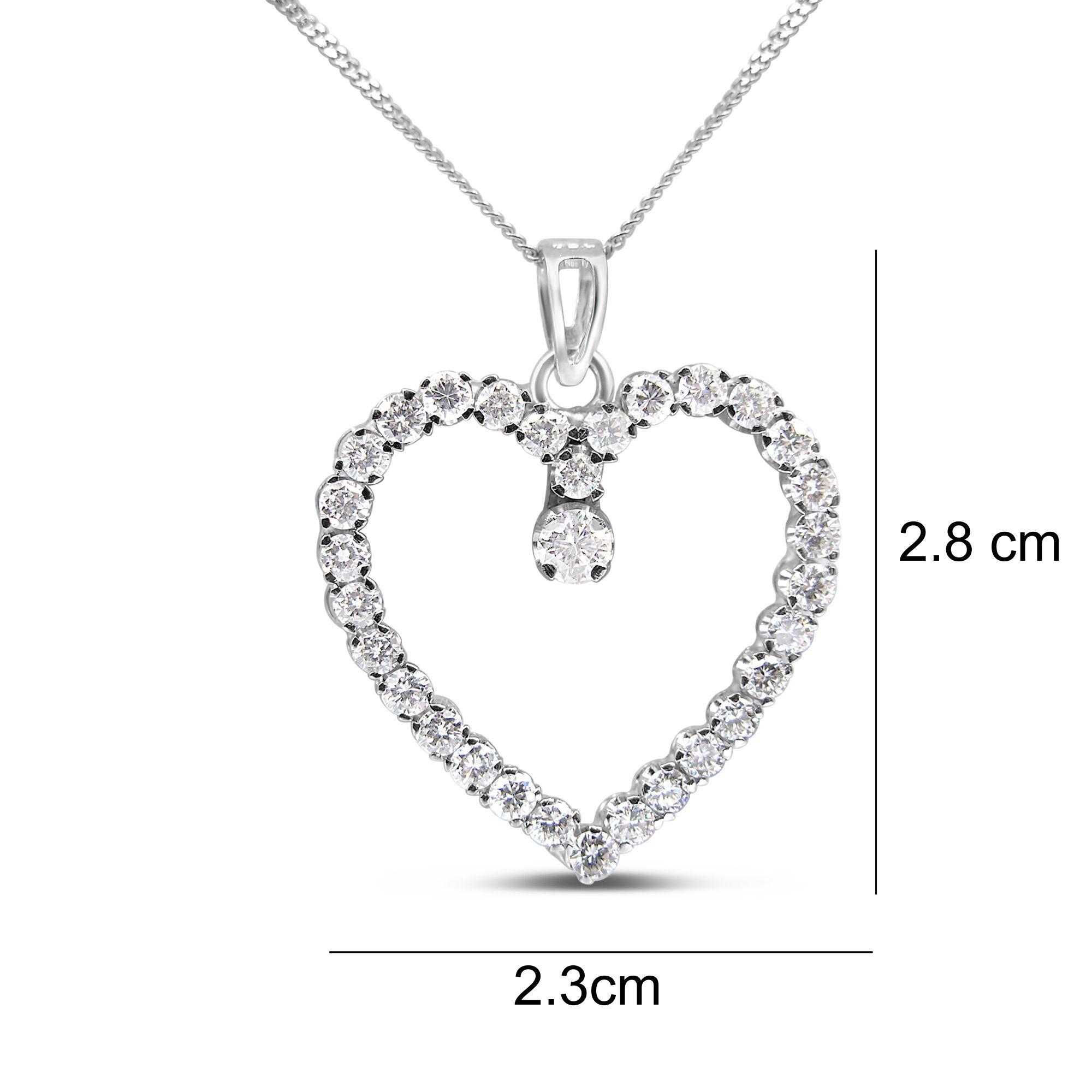 18kt wit goud hart hanger met 2.12 ct diamanten