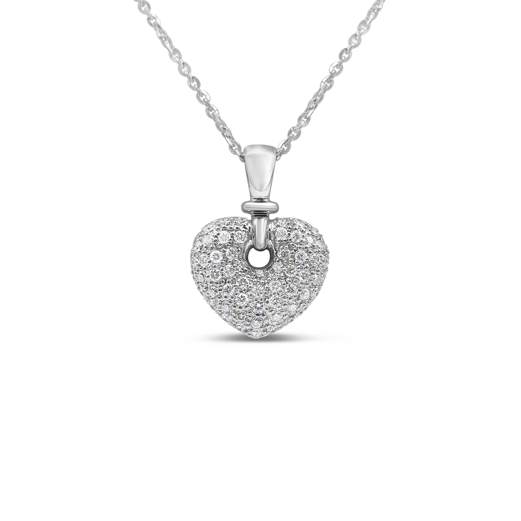 18kt white gold heart pendant with 0.54 ct diamonds