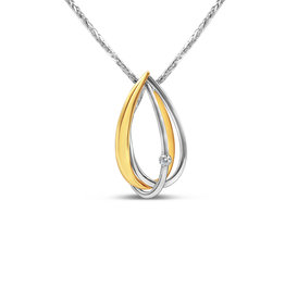18kt white & yellow gold pendant with 0.05 ct diamond