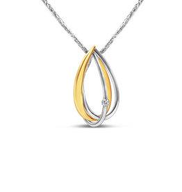 18kt wit & geel goud hanger met 0.05 ct diamant