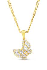 18kt geel goud vlinder hanger met 0.78 ct diamanten