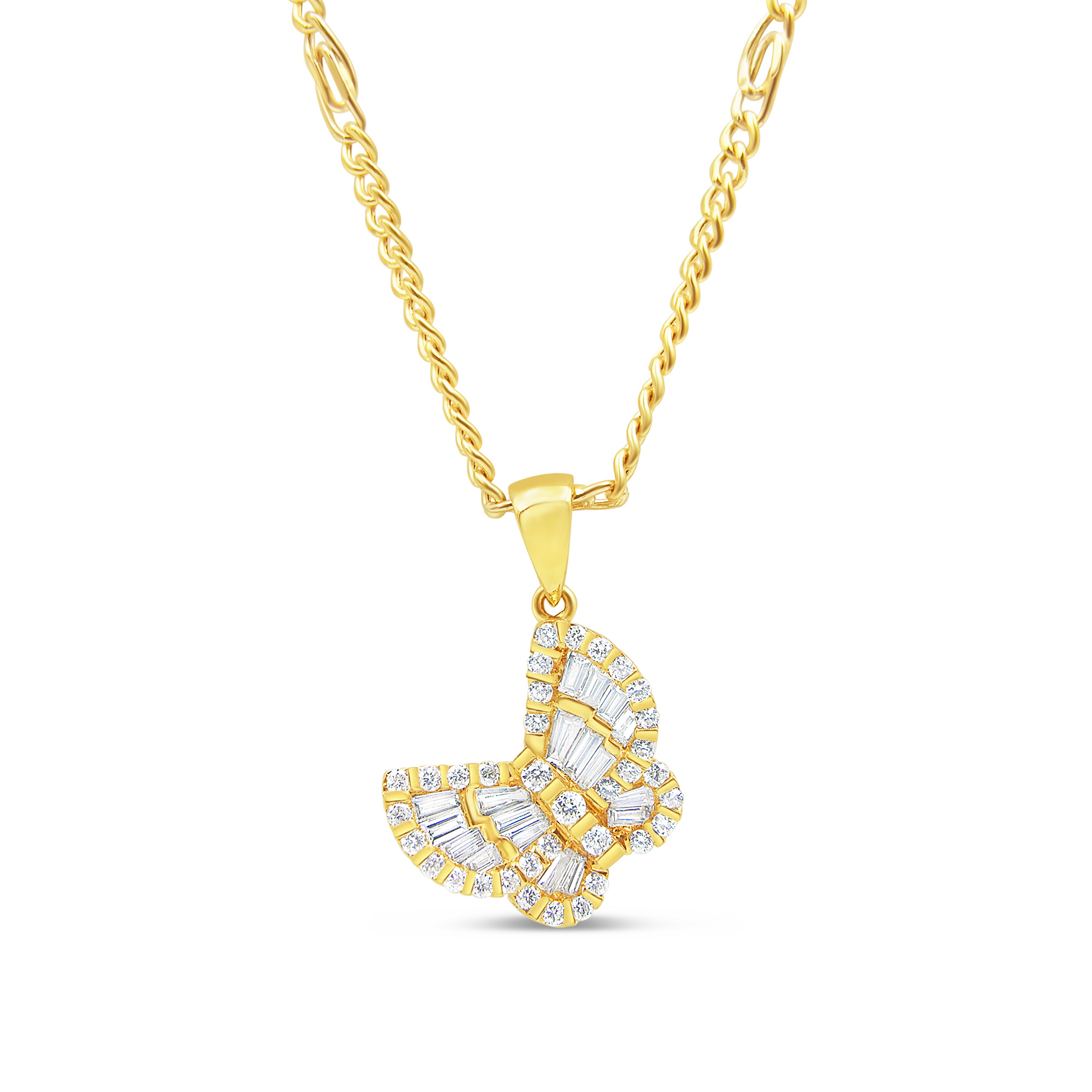 18kt yellow gold  butterfly pendant with 0.78 ct diamonds