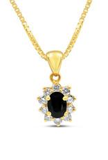 18kt yellow gold pendant with 1.10 ct sapphire & 0.54 ct diamonds