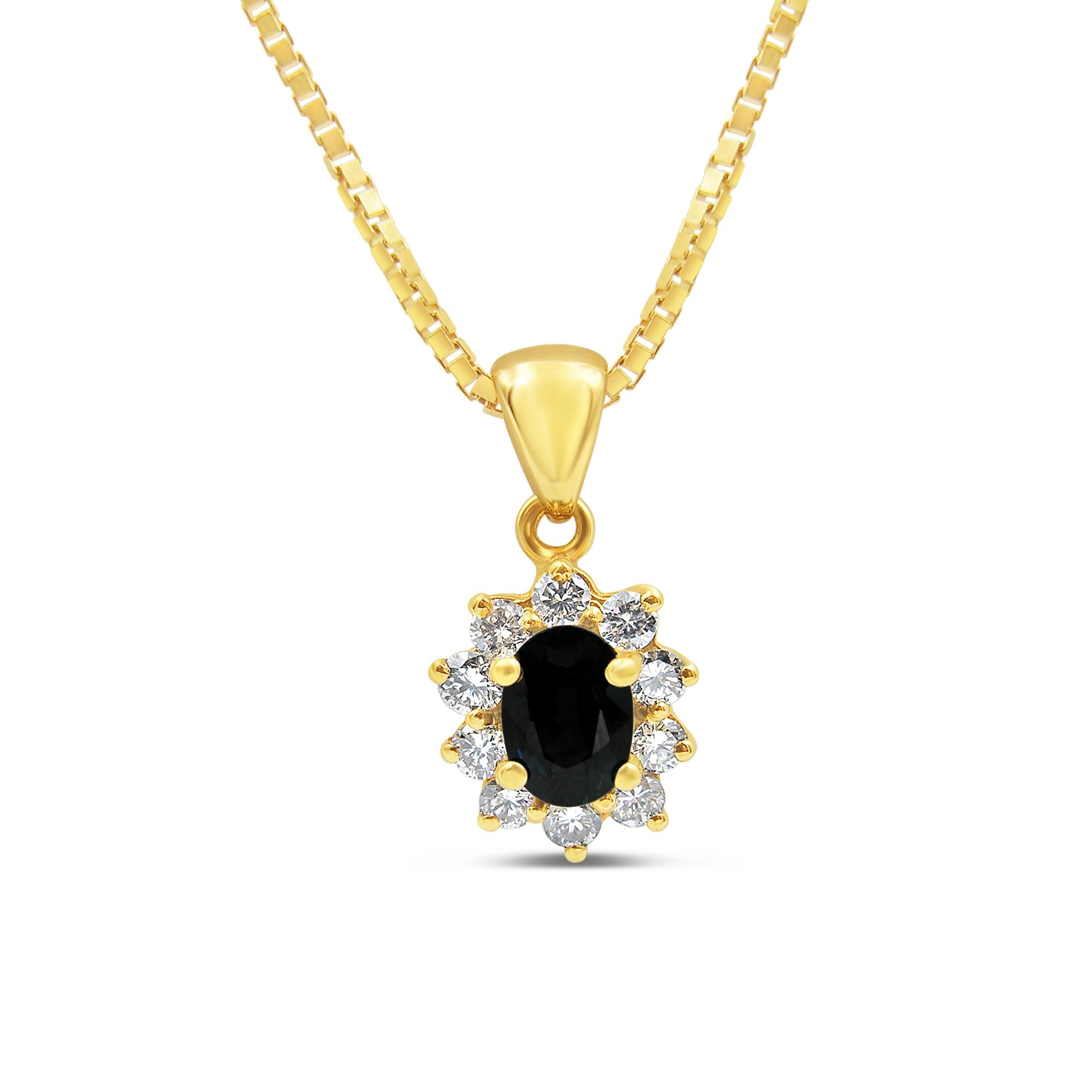 18kt geel goud hanger met 1.10 ct safier & 0.54 ct diamanten
