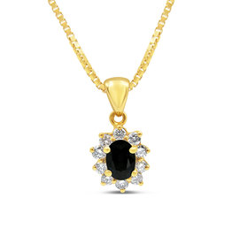 18kt yellow gold pendant with 1.10 ct sapphire & 0.54 ct diamonds