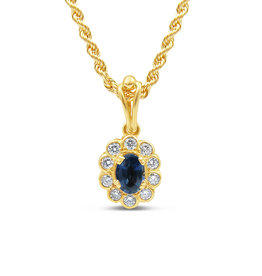 18kt yellow gold pendant with 0.75 ct sapphire & 0.40 ct diamonds