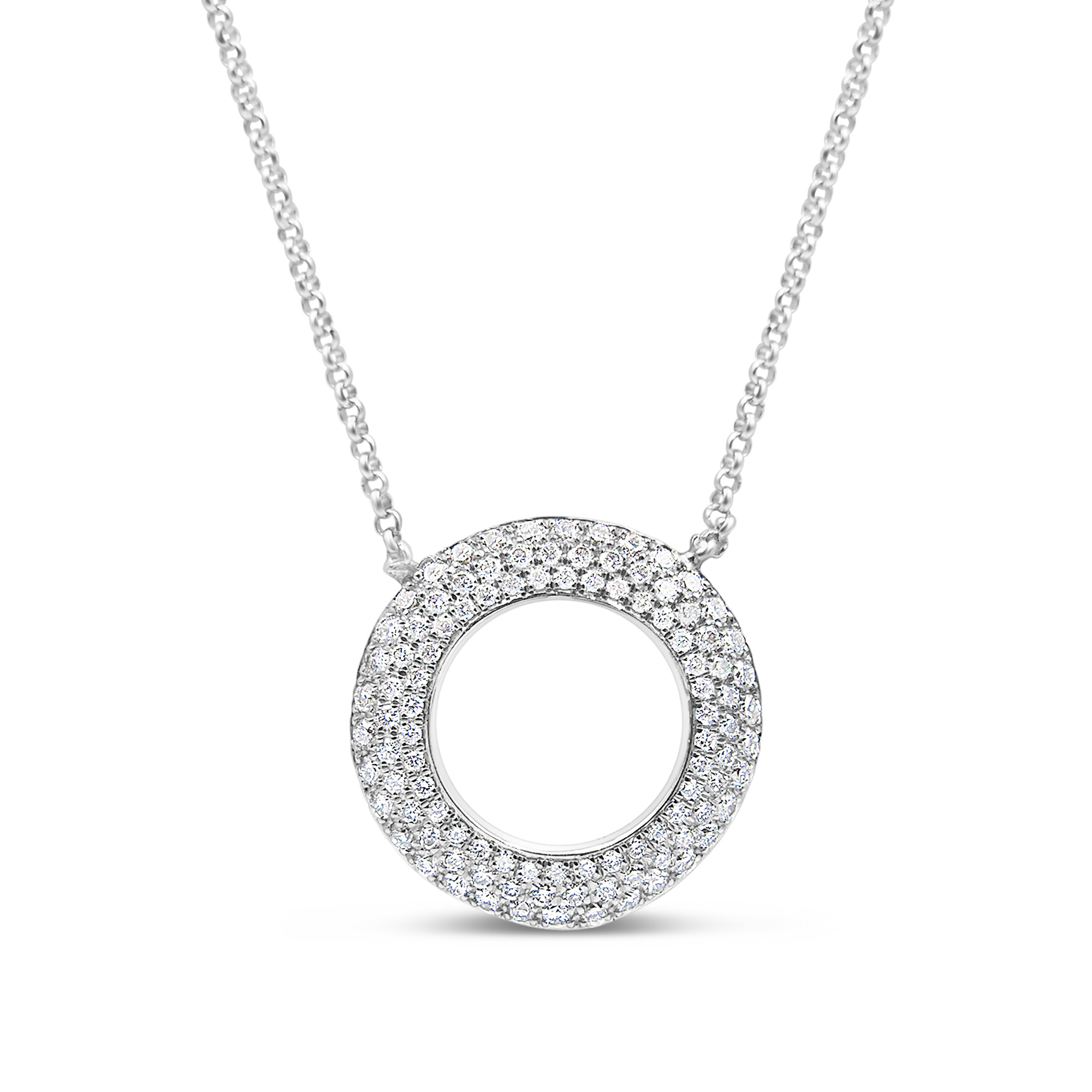 18t white gold chain with 0.50 ct diamonds pendant