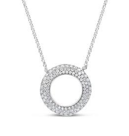 18kt wit goud ketting met 0.50 ct diamanten hanger