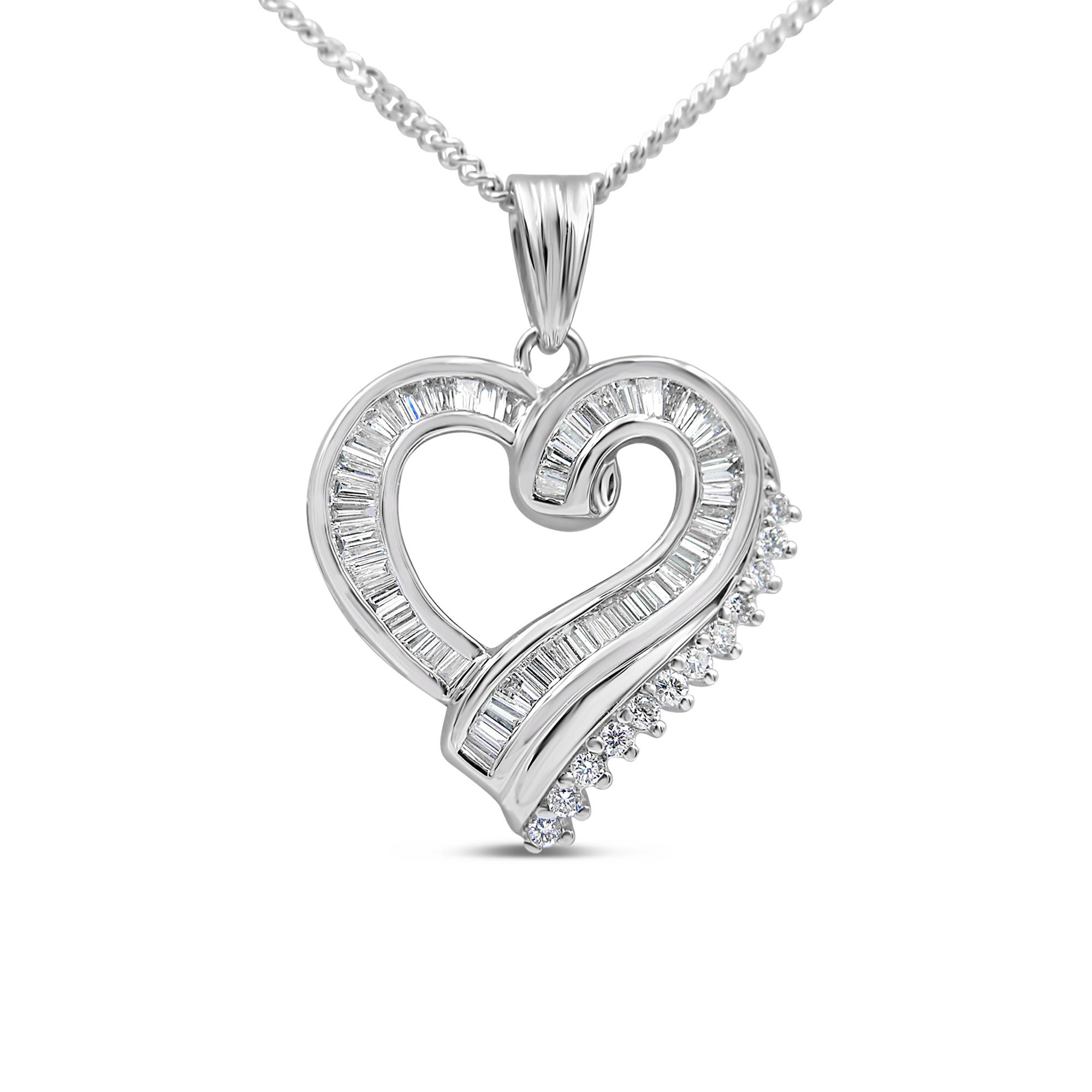 18kt wit goud hart hanger met 0.93 ct diamanten