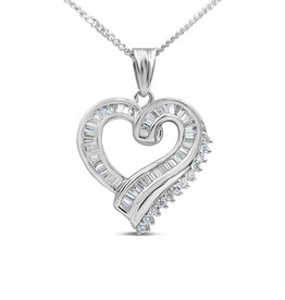 18kt white gold heart pendant with 0.93 ct diamonds