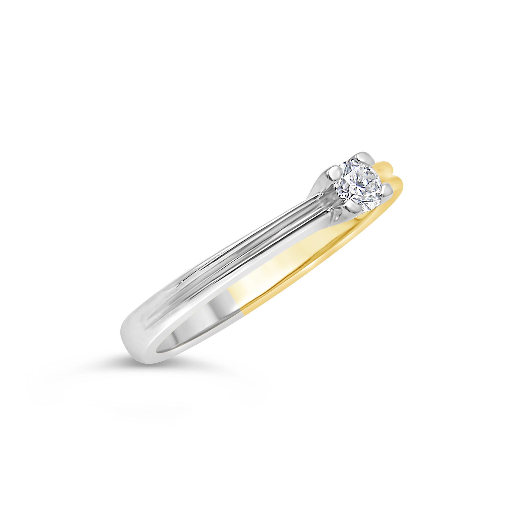 18kt geel en wit goud verlovingsring met 0.15 ct diamant