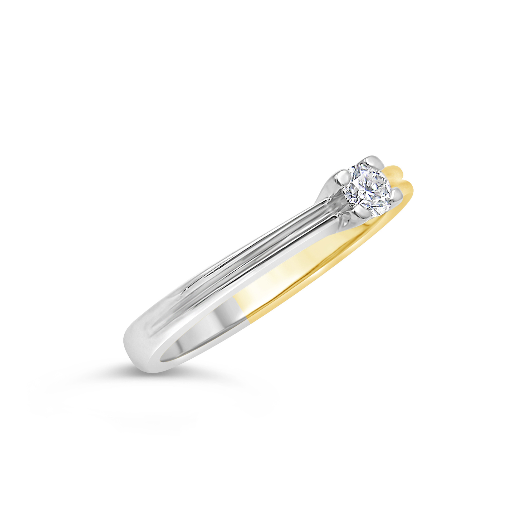 18kt yellow and white gold engagement ring with 0.15 ct diamond