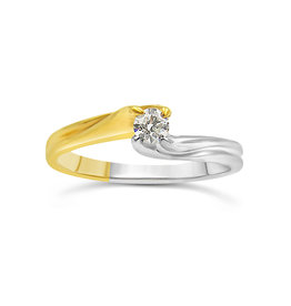 18kt yellow and white gold engagement ring with 0.13 ct diamond