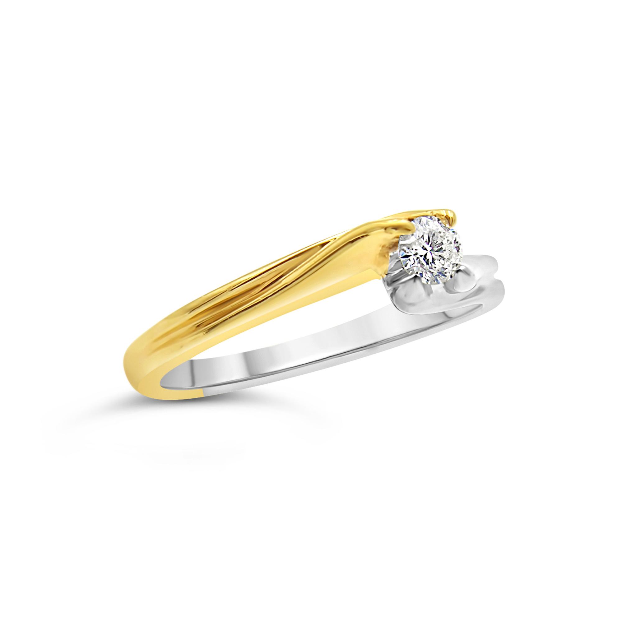 18kt geel en wit goud verlovingsring met 0.13 ct diamant