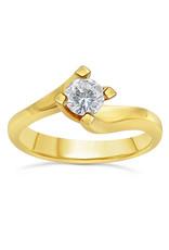18kt geel goud verlovingsring met 0.38 ct diamant
