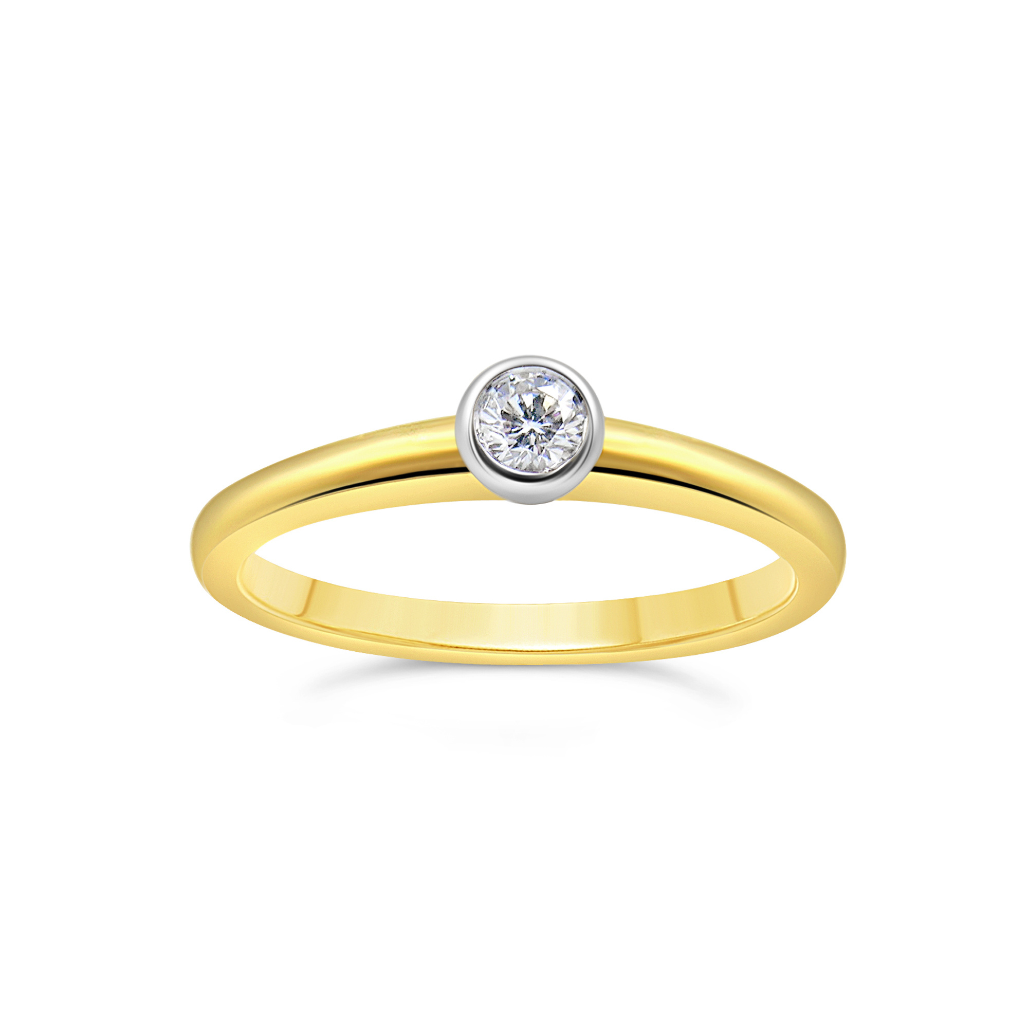 18kt geel en wit goud verlovingsring met 0.20 ct diamant