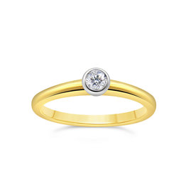 18kt yellow and white gold engagement ring with 0.20 ct diamond