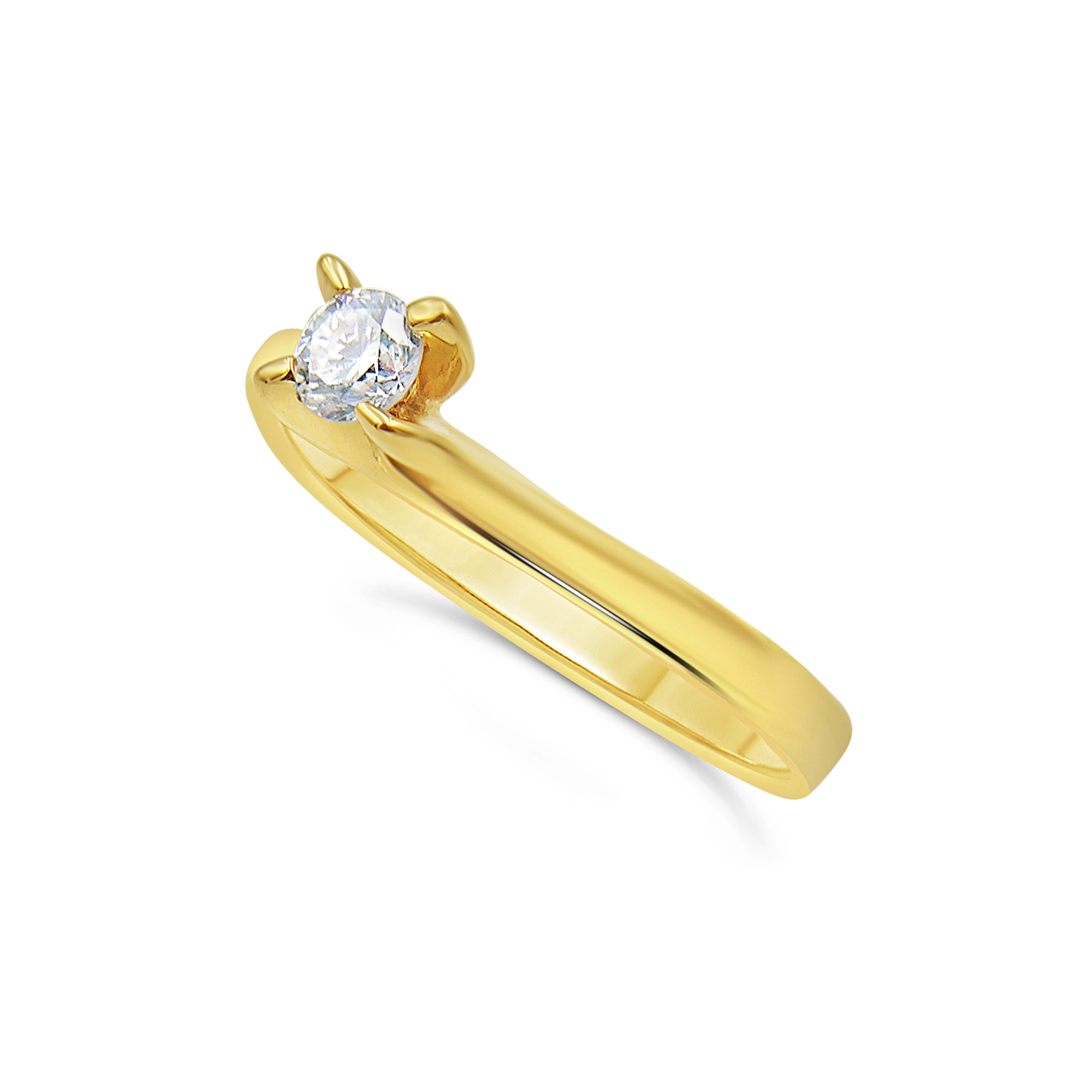18kt geel goud verlovingsring met 0.23 ct diamant