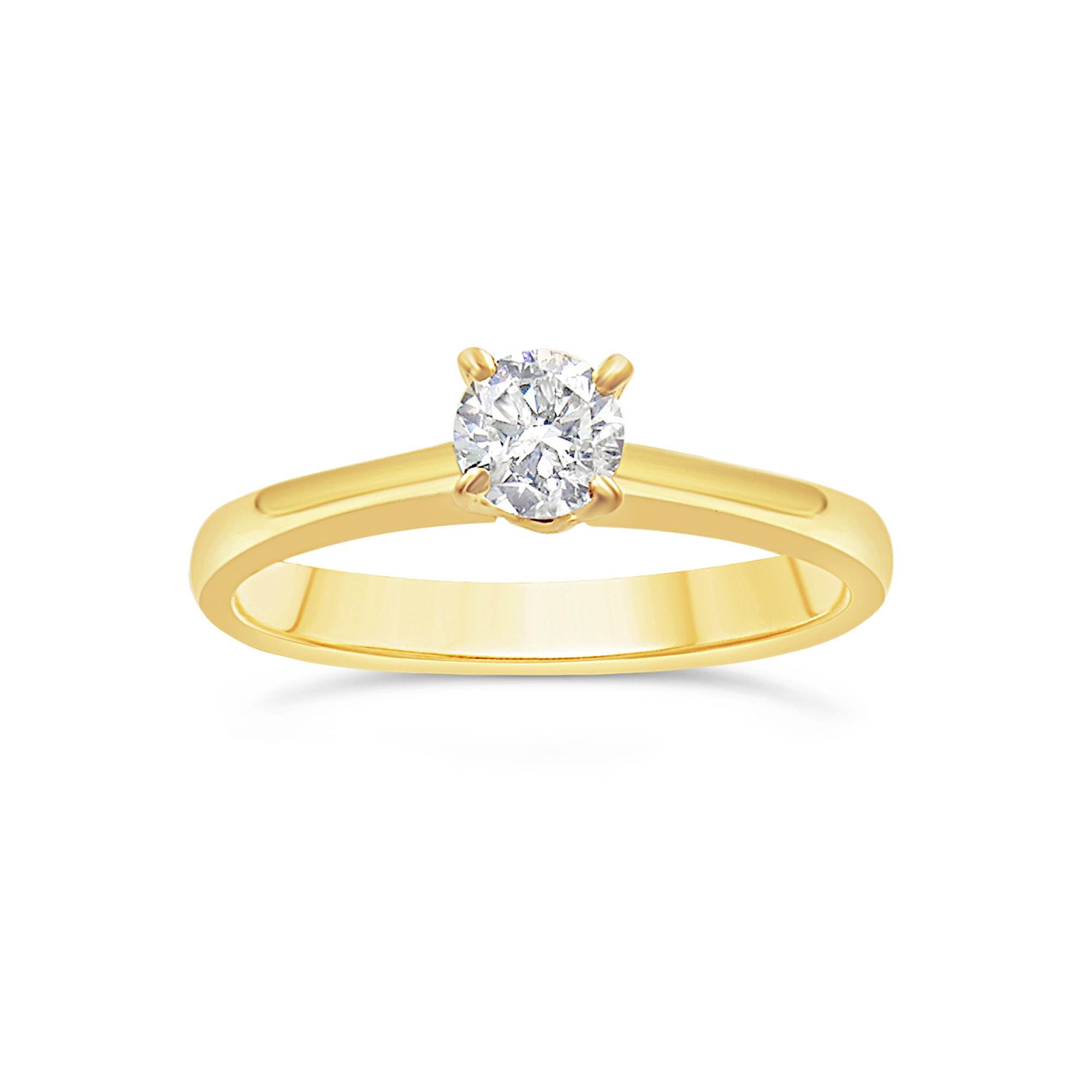 18kt yellow gold engagement ring with 0.30 ct diamond