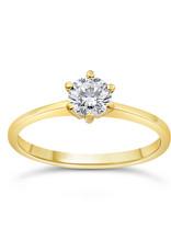 14kt geel goud verlovingsring met 0.50 ct diamant
