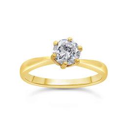 18kt geel goud verlovingsring met 0.61 ct diamant